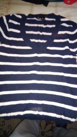 Jersey con cuello de pico azul oscuro-blanco Algodón