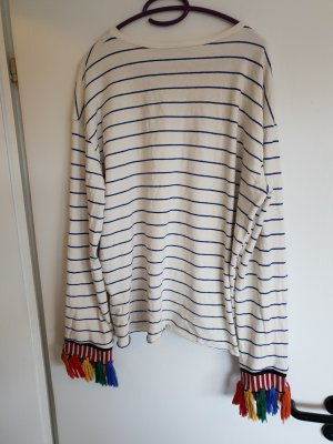 Zara Jersey blanco-azul aciano