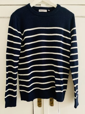 Brave Soul Knitted Sweater white-dark blue synthetic