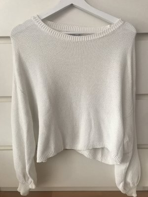 Bershka Knitted Sweater natural white