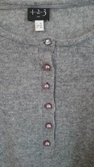 Pullover grau hellgrau Kaschmir Gr. 34 von 1-2-3