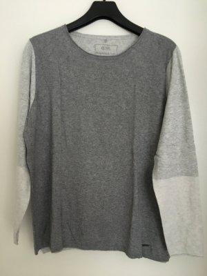 Pullover grau/hellgrau/weiß Feinstrick