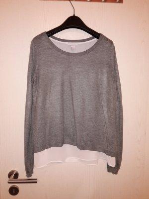 Pullover grau / weiß zweilagig