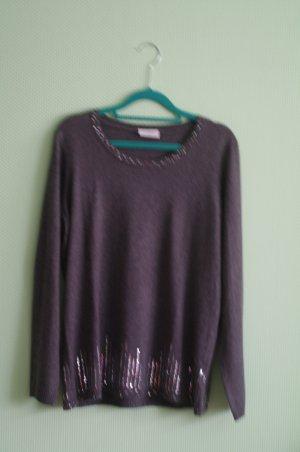 Pullover Größe 40 38 mit Cashmir und Seide Canda Pailletten Silber