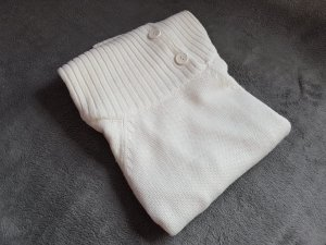 Pullover großer Kragen Nude Weiß Creme Gr. S