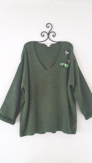 Pullover grün Paillettendetails Gr. XL