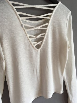 H&M Short Sleeve Sweater white