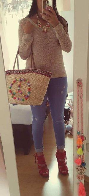 Pullover H&M XS beige nude Häkel Strick blogger hipster boho