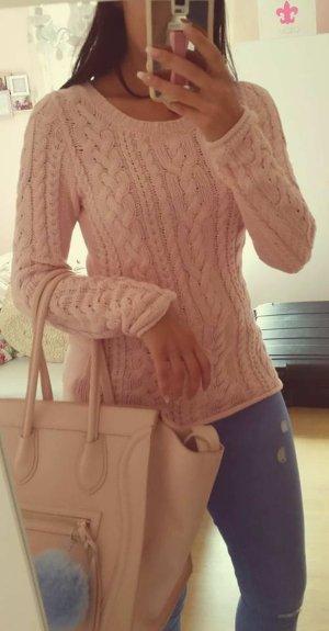 Pullover H&M XS rosa nude Strick Strickpullover Norweger blogger hipster boho