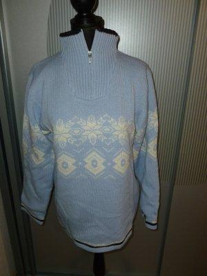 Pull norvégien bleu fluo-blanc