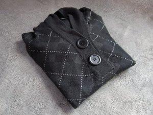 Pullover Hoodie Rautenmuster Grau Schwarz Gr. S