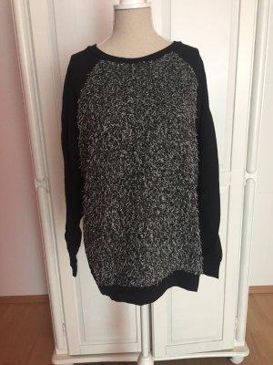 Pullover Hoodie schwarz weiß grau oversized