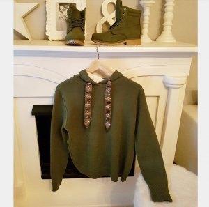 Pullover Hoodie Sweater S khaki oliv Strass blogger hipster boho