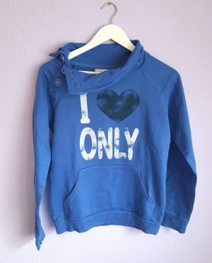 Pullover Hoody Blau Weiß Schwarz Herz Fleece Gr. M