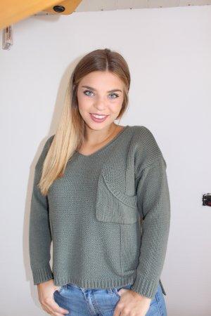 Sheinside Coarse Knitted Sweater khaki