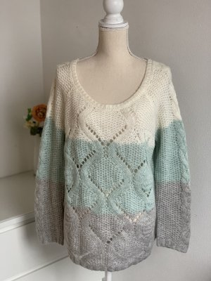 Pullover in Blockfarben mit Strickmuster