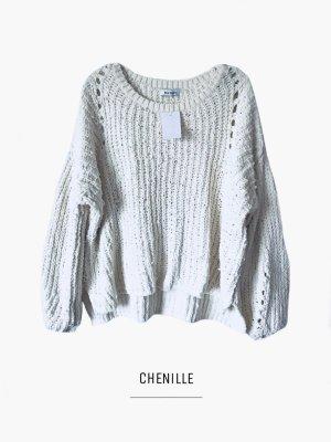 Pullover in elfenbeinweiß samtig weich kuschelig Chenille / Wild Flower / 40