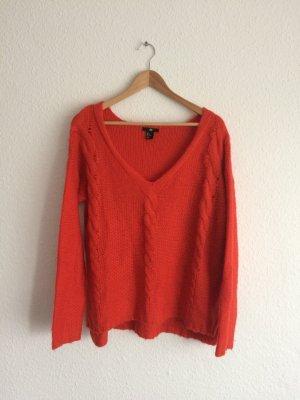 Pullover in knallrot, großer V-Ausschnitt, Gr. M