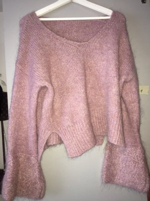 Pull col en V or rose