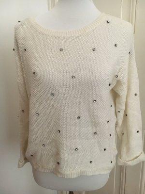Pullover in Weiß mit Strasssteinen