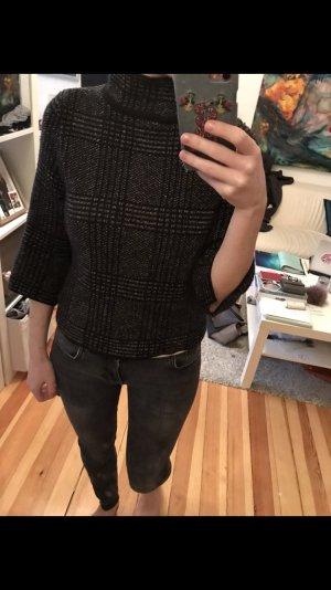 Pullover kariert Turtleneck S schwarz weiss