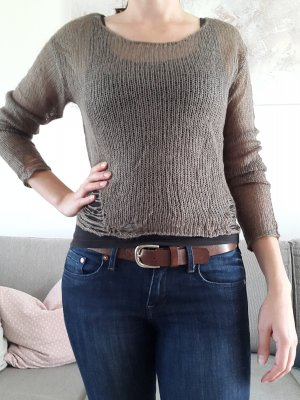 Pullover khaki / braun grober Strick Gr. 34 / XS