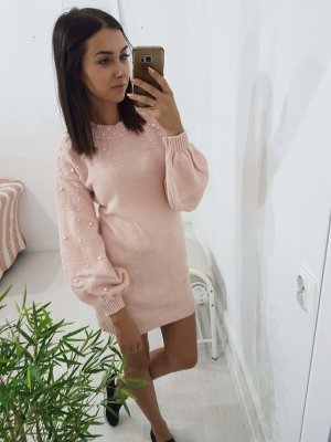 Sweaterjurk grijs-roze
