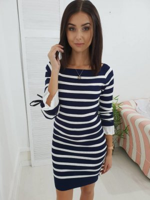 Sweater Dress white-dark blue