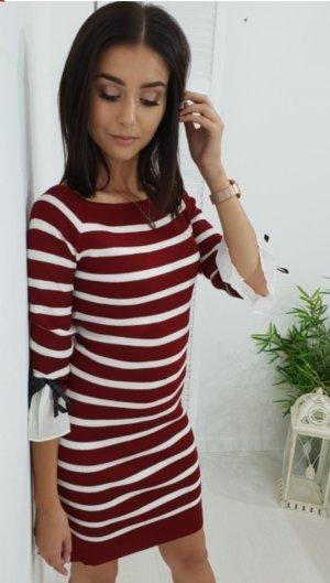 Vestido tipo jersey blanco-rojo oscuro