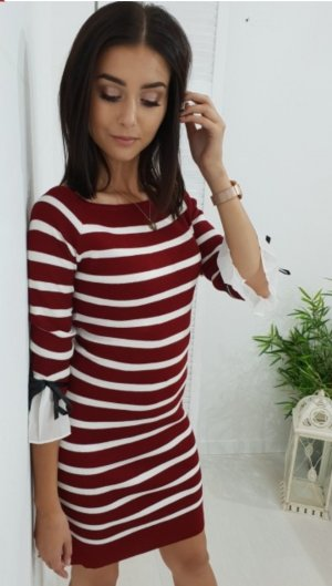 Sweater Dress white-dark red