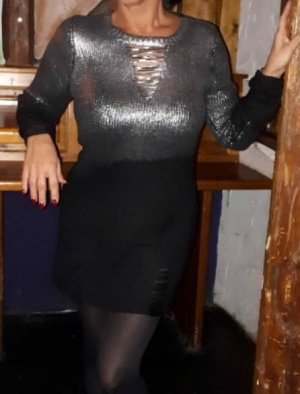 Knitted Dress black-silver-colored