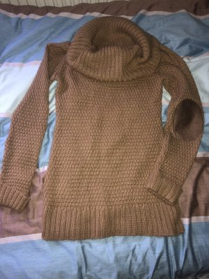 Pullover Kragenpullover Kamel nude mit patches 36-38 (49€)