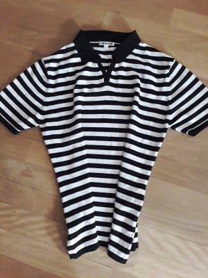 Pullover, kurzärmlig, schwarz weiß gestreift, schwarzer Kragen, Insieme, Größe L