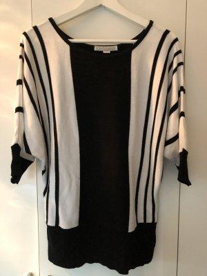 Pullover kurzärmlig schwarz-weiß in Größe M