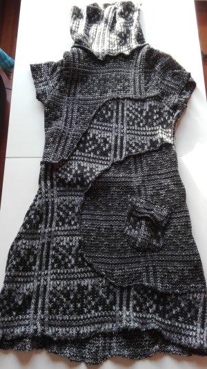 Pullover kurzarm mit Kragen und Täschen schwarz weiß grau