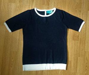 Pullover kurzarm Strick Shirt blau dunkelblau weiß von Franco Callegari Gr. S