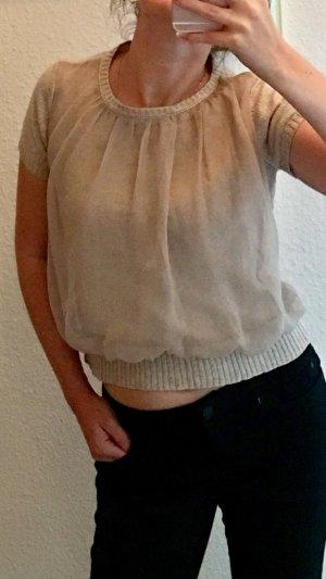 Zara Knit Jersey de manga corta nude