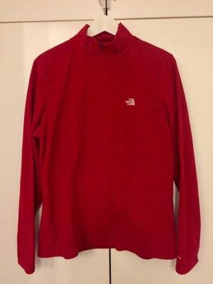 Pullover Kuschelpullover fleece rot North Face langärmlig mit Kragen