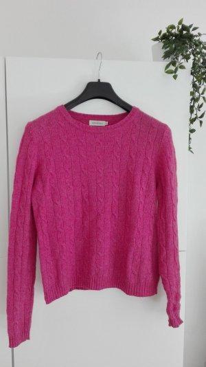 Pullover Lammwolle pink rosa Zopfstrick