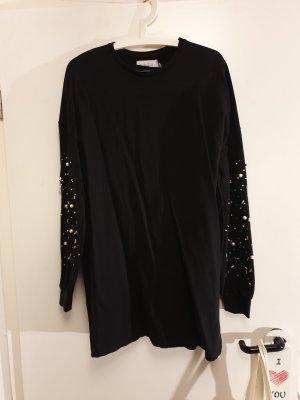 Pullover/ langer Pullover/ Kleid/ Baumwoll-Kleid/ schwarzes Kleid mit Perlen