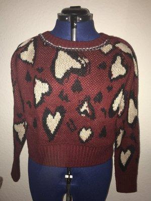 Kraagloze sweater donkerrood-zwart