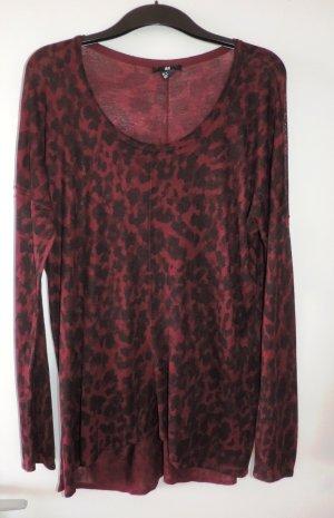 Pullover Leopard Rot Bordeux Schwarz Gr. M/L Oversize Neu Blogger