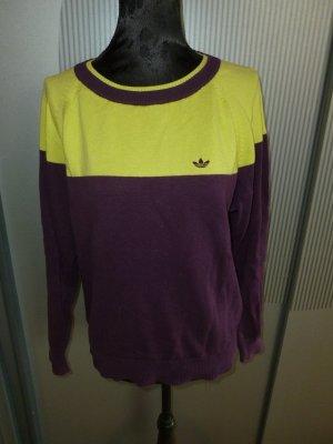 Adidas Jersey de cuello redondo verde pradera-violeta oscuro