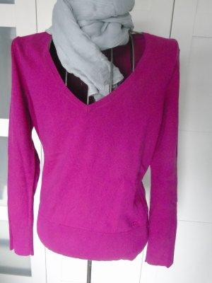 Pullover, lila pink mit V-Ausschnitt