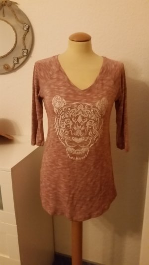 Pullover LONG 3/4 Arm rot melliert Gr. 40 Tiger