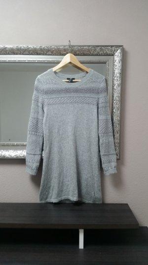 Pullover Longpullover Strickpulli Langarm Kleid Grau H&M Gr. S 36 38