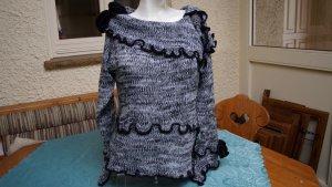 #Pullover m. Samtblüte, Gr. 40/42, schwarz-weiß, #NEU, #Bodyright
