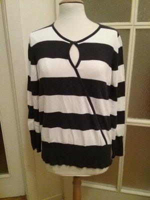 Pullover Marinelook mit großen schwarzen Streifen