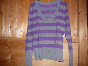 Pullover, Marke EDC by Esprit. grau-lila, gestreift, Gr. M