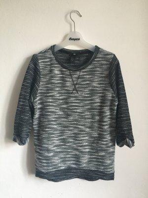 Pullover meliert schwarz weiß H&M 34 36 XS Basic Pulli Strick